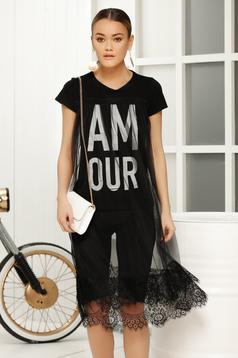 Fekete casual bő szabás póló rövid ujjú anyag átfedések