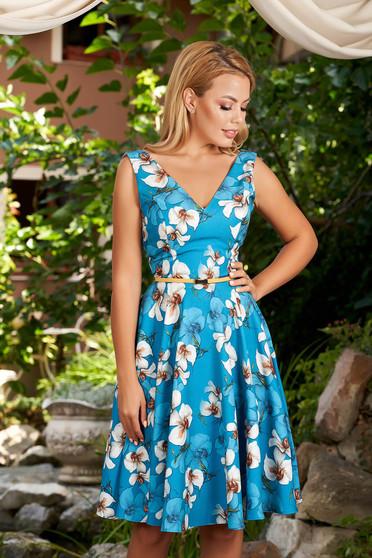 Kék virágmintás alkalmi elegáns harang StarShinerS ruha mély dekoltázssal