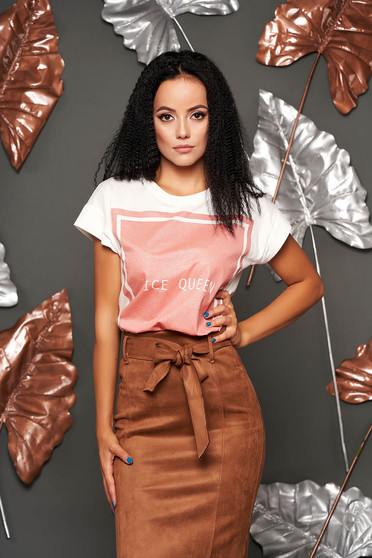 Pink casual bő szabású póló rövid ujjakkal vékony anyag