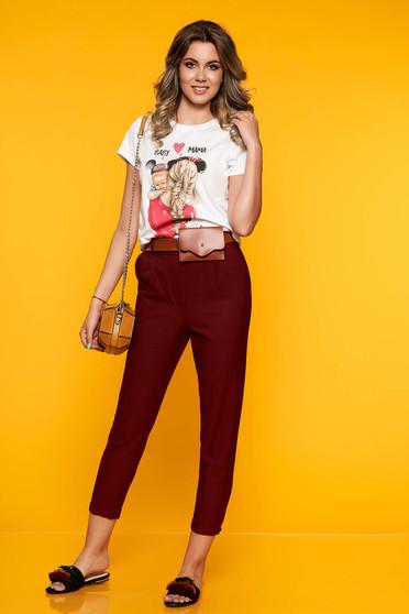 Burgundy casual egyenes zsebes nadrág öv típusú kiegészítővel