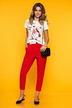 Piros casual egyenes nadrág elöl zsebes derékban rugalmas