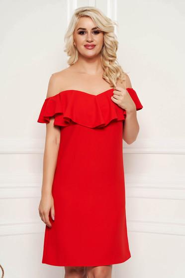 Piros ruha elegáns egyenes midi fodros