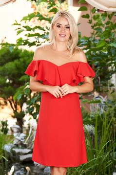 Piros ruha elegáns egyenes midi fodros vállon hálószerű betét bélés nélkül