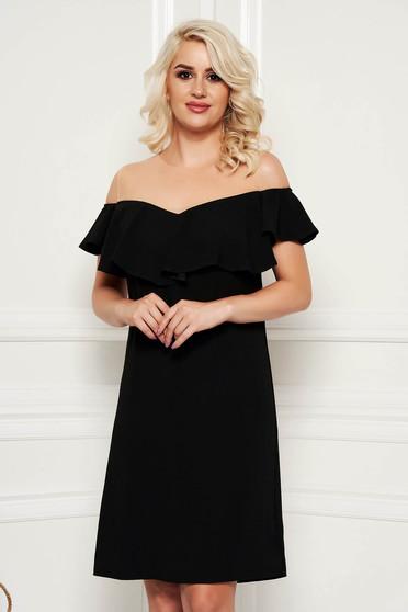 Fekete ruha elegáns egyenes midi fodros