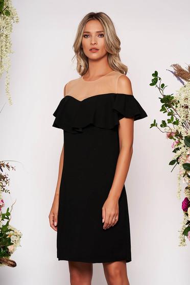 Fekete ruha elegáns egyenes midi fodros vállon hálószerű betét bélés nélkül