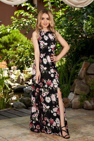 Fekete virágmintás hétköznapi maxi ruha