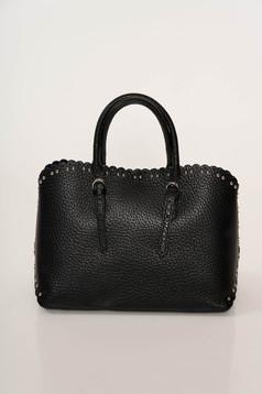 Fekete irodai táska fémes szegecsekkel rövid fülekkel
