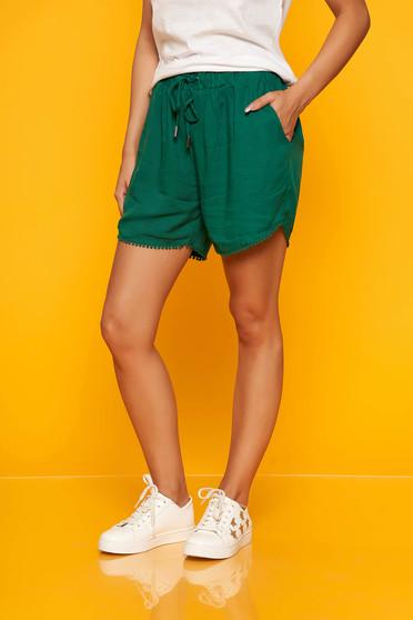 Zöld casual magas derekú elöl zsebes derékban rugalmas rövidnadrág
