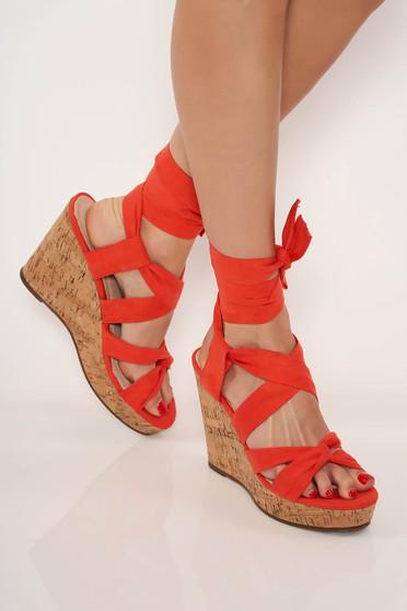 Narancs casual cipő megkötős