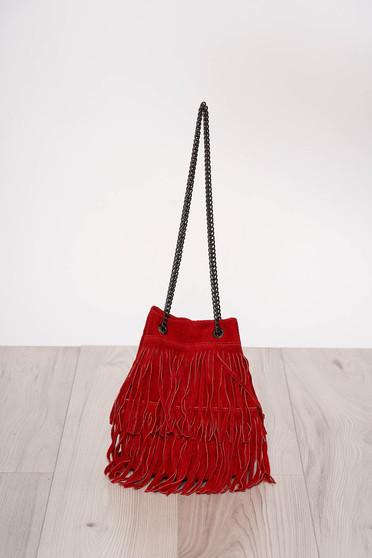 Piros rojtos casual táska hosszú, lánc jellegű akasztóval