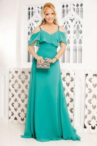 Zöld alkalmi hosszú pántos harang ruha fátyol fodrokkal