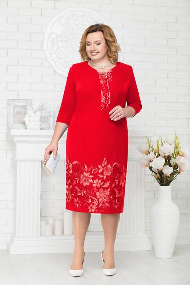 Piros alkalmi elegáns egyenes midi háromnegyedes ujjú ruha gyöngyös díszítés