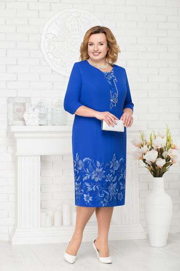 Kék alkalmi elegáns egyenes midi háromnegyedes ujjú ruha gyöngyös díszítéssel