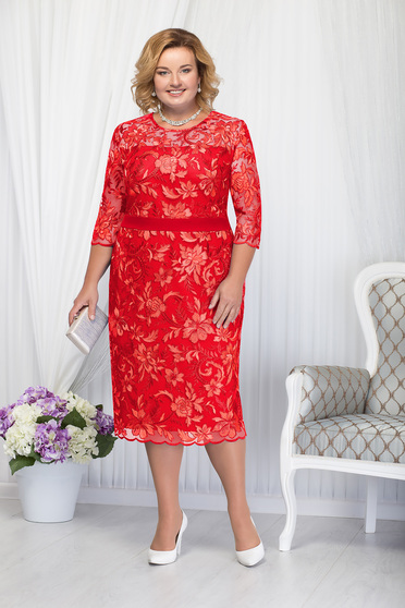Piros alkalmi elegáns egyenes midi háromnegyedes ujjú ruha csipkés anyagból