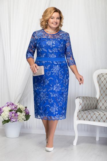 Kék alkalmi elegáns egyenes midi háromnegyedes ujjú ruha csipkés anyagból
