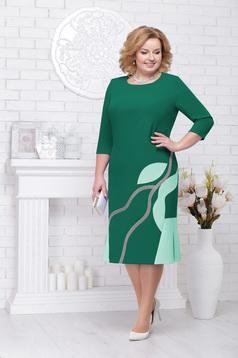 Zöld elegáns alkalmi egyenes midi háromnegyedes ujjú ruha kerekített dekoltázssal