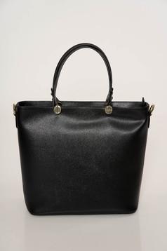 Fekete táska elegáns két, közepes hosszúságú fül valódi bőrből készült