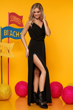 Fekete StarShinerS casual hétköznapi maxi ruhák pántos harang ruha derékban rugalmas