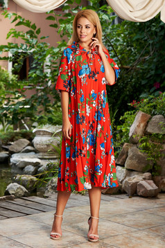 Piros hétköznapi bő szabású midi virágmintás bélés nélkül rakott, pliszírozott ruha