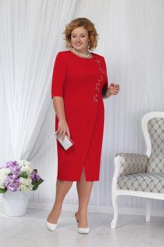 Piros alkalmi elegáns egyenes midi ruha szivacsos vállrésszel