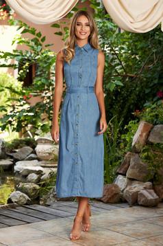 Kék ruha casual midi egyenes pamutból készült ujj nélküli eltávolítható öv