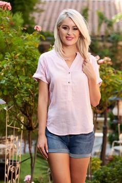 Pink csíkos casual rövid bő szabású női ing v-dekoltázzsal