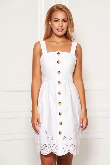 Fehér casual pántos rövid a-vonalú ruha