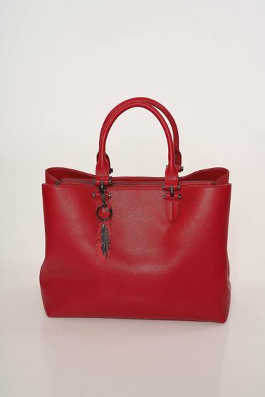 Piros irodai táska műbőrből rövid fülekkel