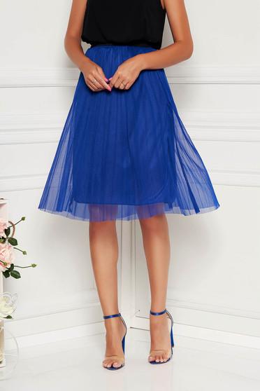 Kék casual derékban rugalmas midi szoknya tüllből