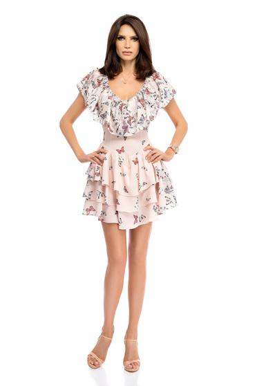 Világos rózsaszín ruha hétköznapi rövid harang fodros grafikai díszítéssel