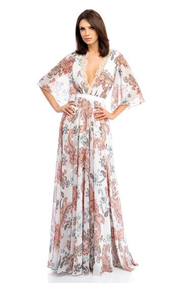 Fehér ruha muszlinból hosszú maxi ruhák harang mély dekoltázs pillangó típusú ujjakkal