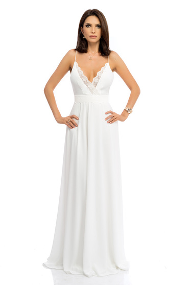 Fehér ruha maxi ruhák hosszú harang pántos csipke díszítéssel