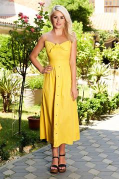 Sárga hétköznapi midi pamutból készült ruha bélés nélkül állítható pántokkal