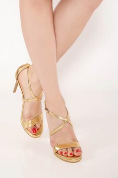 Arany elegáns valódi bőrből készült szandál