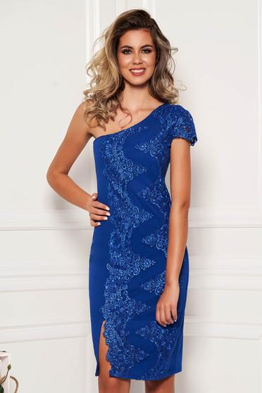 Kék elegáns alkalmi rövid mellrésznél szivacsos egy vállas ceruza ruha