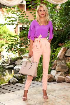 Rózsaszínű elegáns magas derekú kónikus elöl zsebes nadrág eltávolítható övvel