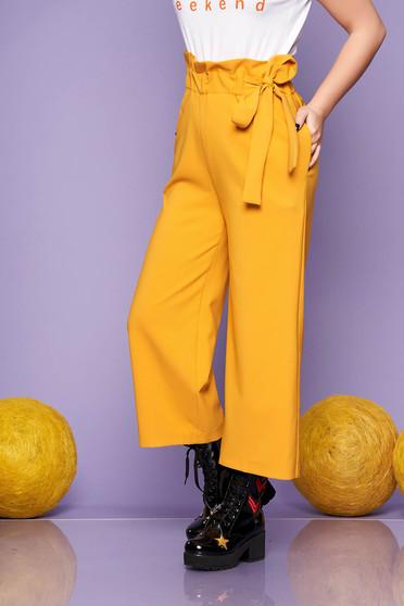 Mustar 3/4-es egyenes casual derékban megköthető nadrág