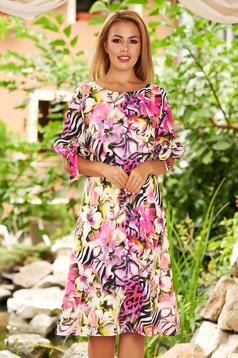 Lila virágmintás hétköznapi midi a-vonalú ruha muszlinból