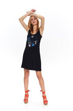 Fekete ruha casual rövid harang kerekített dekoltázssal ujj nélküli