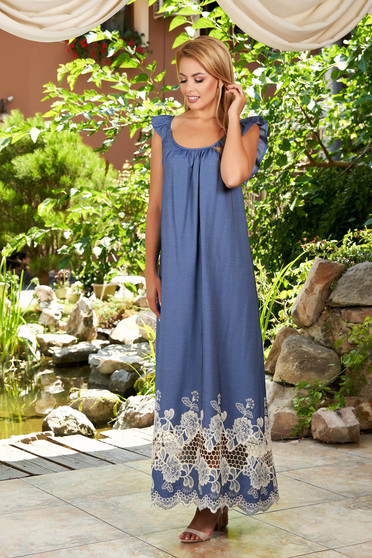 Kék StarShinerS ruha hétköznapi hosszú a pántoknál fodros kerekített dekoltázssal hímzett