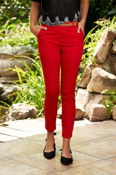 Piros casual kónikus pamutból készült elöl zsebes nadrág tartozékkal