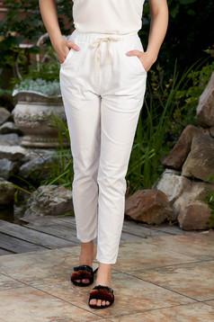 Fehér casual pamutból készült derékban rugalmas egyenes nadrág