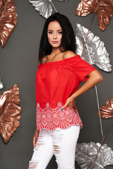 Piros rövid ujjú casual pamutból készült bő szabású női blúz