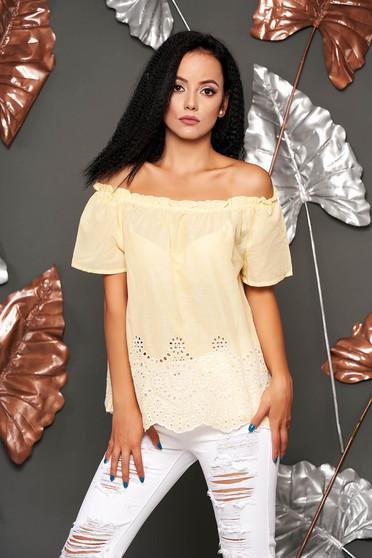Sárga rövid ujjú casual pamutból készült bő szabású női blúz