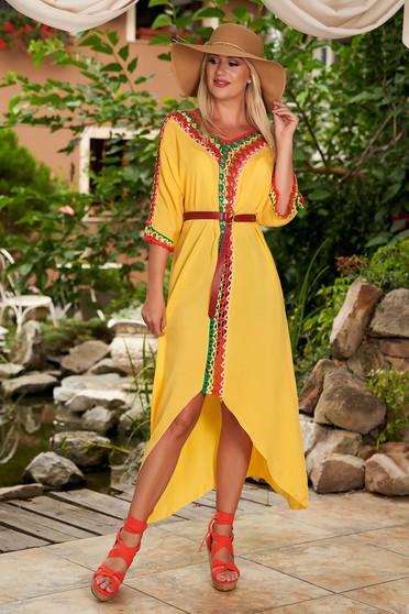 Sárga casual háromnegyedes ujjú bő szabású ruha pamutból