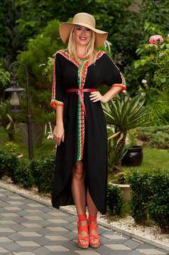 Fekete casual háromnegyedes ujjú bő szabású ruha pamutból