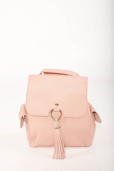 Pink casual bőr utánzat állítható pántokkal ellátott hátizsák