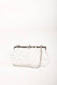 Fehér alkalmi táska eltávolítható vékony lánc gyöngy és strassz köves díszítéssel
