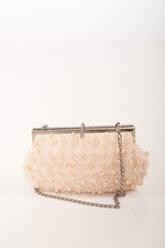 Világos rózsaszín alkalmi táska eltávolítható vékony lánc gyöngy és strassz köves díszítéssel