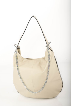 Krém casual táska műbőrből fém lánccal